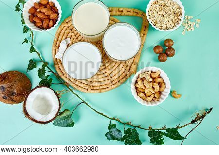 Various Vegan Plant Based Milk And Ingredients, Non-dairy Milk, Alternative
