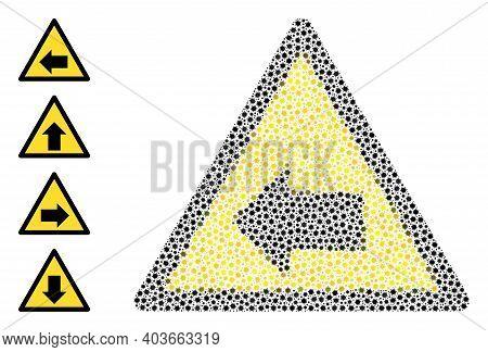 Vector Left Direction Warning Icon Covid Composition. Left Direction Warning Mosaic Is Created Of Li