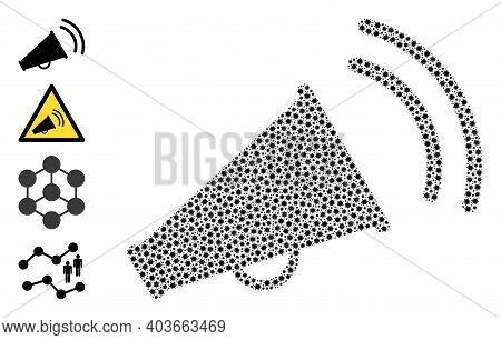 Vector Marketing Horn Icon Coronavirus Mosaic. Marketing Horn Mosaic Is Done Of Small Coronavirus Vi