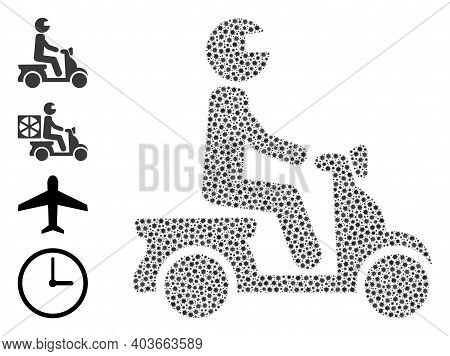 Vector Motorbike Driver Icon Coronavirus Collage. Motorbike Driver Mosaic Is Created From Small Coro