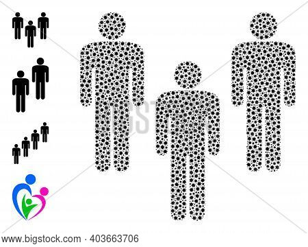 Vector People Crowd Icon Covid Mosaic. People Crowd Mosaic Is Composed With Small Covid Infection El