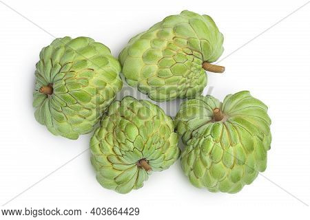 Sugar Apple Or Custard Apple Isolated On White Background With Clipping Path . Exotic Annona Or Cher