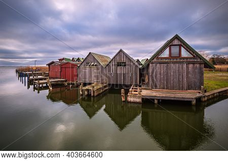 Boathouses In The Port Of Ahrenshoop, Germany.