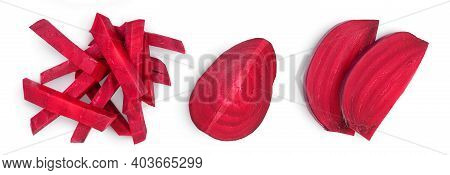 Beetroot Slices Isolated On White Background With Clipping Path And Full Depth Of Field. Top View. F