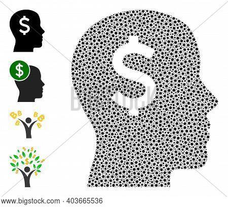 Vector Banker Head Icon Coronavirus Mosaic. Banker Head Mosaic Is Created From Tiny Coronavirus Path