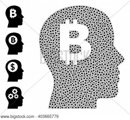 Vector Bitcoin Imagination Icon Coronavirus Collage. Bitcoin Imagination Mosaic Is Organized With Sm