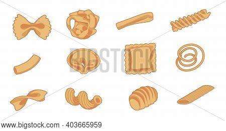 Vector Drawing Set Of Different Types Of Traditional Italian Pasta Like Fusilli, Tortellini, Macaron