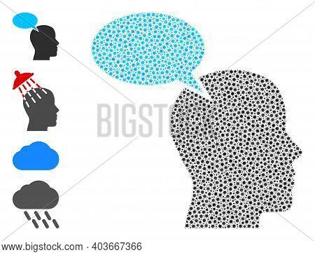 Vector Imagination Cloud Icon Covid Mosaic. Imagination Cloud Mosaic Is Constructed Of Little Covid