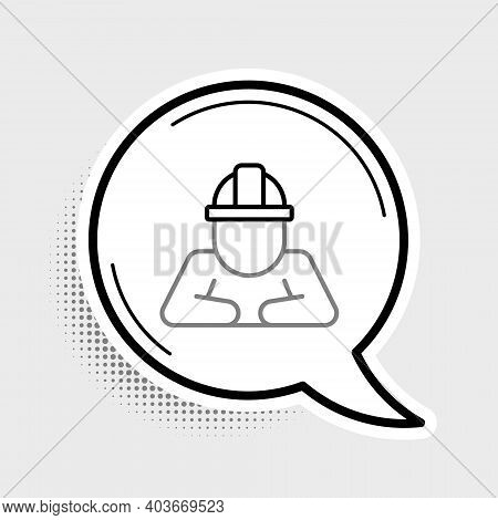 Line Builder Icon Isolated On Grey Background. Construction Worker. Colorful Outline Concept. Vector