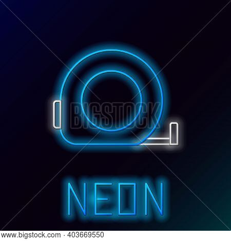 Glowing Neon Line Roulette Construction Icon Isolated On Black Background. Tape Measure Symbol. Colo