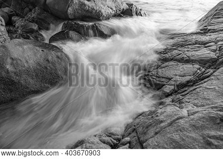 Long Exposure Seascape In Black And White Image Nature Composition,crashing Surf Wave.