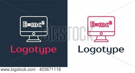 Logotype Line Math System Of Equation Solution On Computer Monitor Icon Isolated On White Background