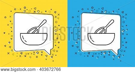 Set Line Kitchen Whisk And Bowl Icon Isolated On Yellow And Blue Background. Cooking Utensil, Egg Be