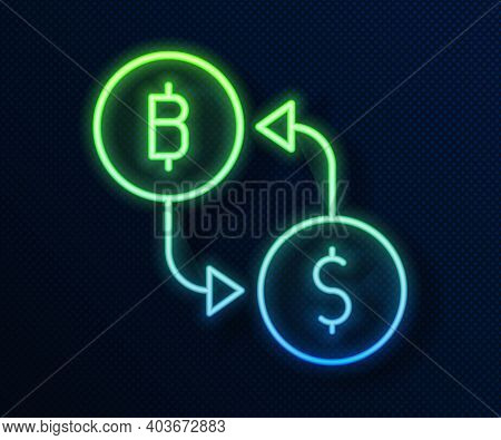 Glowing Neon Line Cryptocurrency Exchange Icon Isolated On Blue Background. Bitcoin To Dollar Exchan