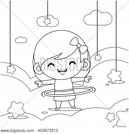 Illustration Vector Graphic Of Coloring Book For Kids. Cute Little Girl Playing Hula Hoop On Cloud.