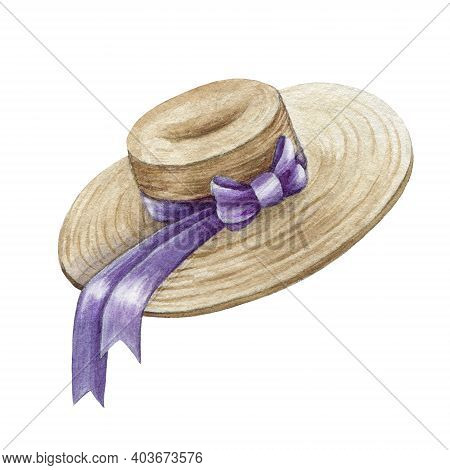 Straw Hat Watercolor Element Image. Hand Drawn Elegant Head Cap With Lavender Ribbon. Summer Straw F