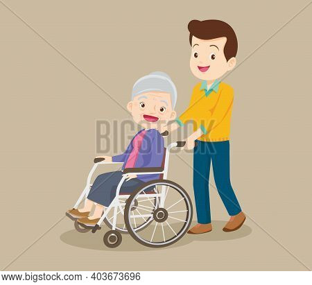 Young Man Strolling With Elderly Woman In Wheelchair, Nursing Care For Disabled People And Elderly C