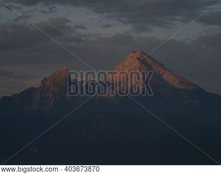 Panorama View Of Watzmann Alpine Mountain Range Alpenglow From Marxenhoehe Berchtesgaden Upper Bavar