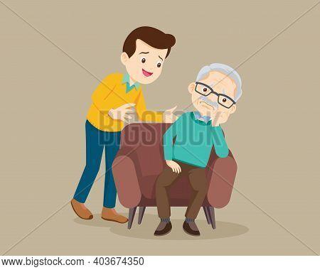 Sad Elderly Man Bored, Sad Senior Man Sitting And Man Comforting Upset Him ,father Consoling Grandfa