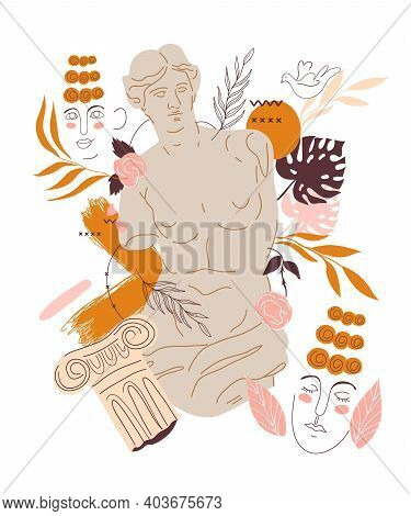 Decorative Element With Greek Sculpture Of Venus Goddess And Abstract Design Elements, Flat Vector I