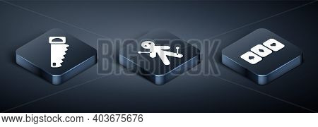 Set Isometric Hand Saw, Playing Cards And Voodoo Doll Icon. Vector