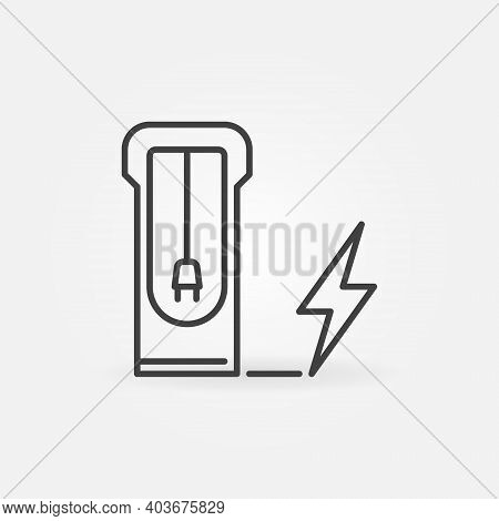 Electric Car Recharging Point Vector Thin Line Concept Icon Or Design Element