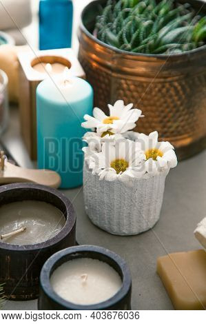 Spa And Wellness. Natural Soaps In With Daisy Flowers .spa Treatment