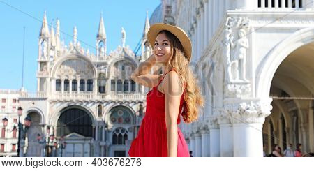 Travel Vacation In Italian Old Town Of Young Woman Cropped Banner. Sun Hat Girl With Red Dress Posin