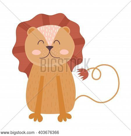 Scandinavian Hugge Cute Animals, Lion With Mane And Tail Isolated On White Background. Vector Illust
