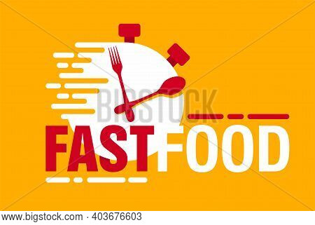 Fastfood Logo Template - Conceptual Combination Of Timer Clock With Plate As Display, Spoon And Fork