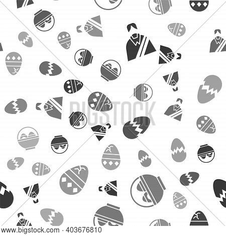 Set Jesus Christ, Basket With Easter Eggs, Broken Egg And Cracked Egg On Seamless Pattern. Vector