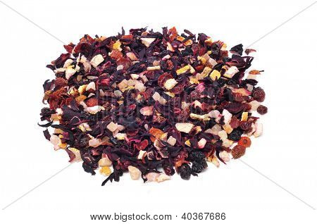 closeup of pile of a mix of dry fruits, as papaya and pineapple, and flowers, as hibiscus, to prepare herbal tea poster