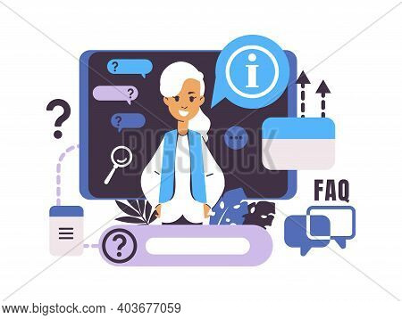 Call Center And Customer Support. Frequently Asked Questions. Isolated Cartoon Woman With Speech Bub