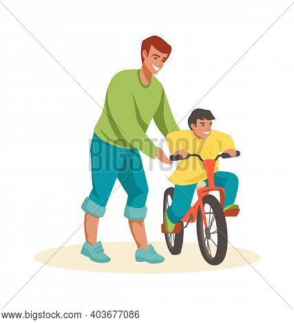 Family Scenes. Dad Teaches Son To Ride Bike, Happy Father And Little Boy Spend Time Together Outdoor
