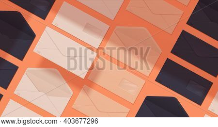 Realistic Envelope Pattern. Seamless Texture Of Paper Mails. Blank Letter Packaging. Opened And Clos