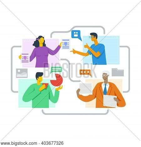 Online Team Builders Illustration Concept Vector Flat
