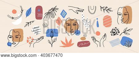 Abstract Face Art. Contemporary Line Flowers, Women Faces And Minimalist Nature Elements Collection.