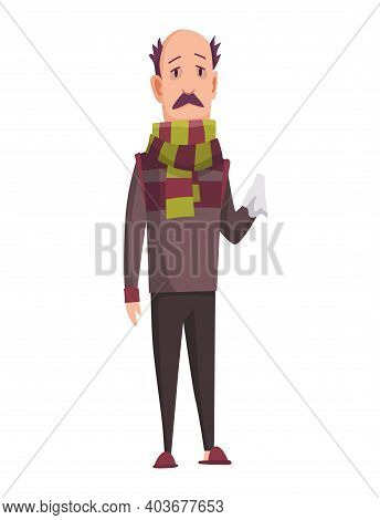 Flu Cold. Flu Or Common Cold Treatment At Home. Man With Handkerchief In Hand. Season Allergy. Aller