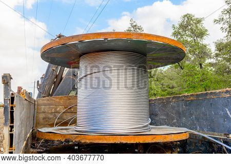 Coil With High-voltage Cable Mounted On Wheeled Truck