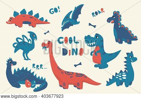 Cartoon Dinosaur. Cute Doodle Baby Dino Isolated Bright Collection, Flat Style Adorable Characters F