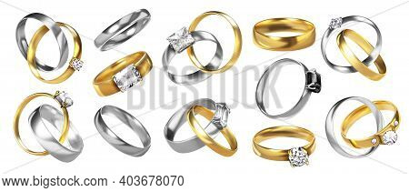 Wedding Rings. Realistic Jewelry. Golden Ceremony Rings. Silver Honeymoon Elements With Shiny Diamon