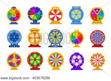 Spin Wheels. Cartoon Lottery Circle. Fortune Roulette Games. Collection Of Rotating Casino Equipment