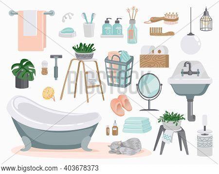 Bathroom Elements. Cartoon Plumbing And Toilet Furniture. White Enameled Washbasin And Bath, Mirror