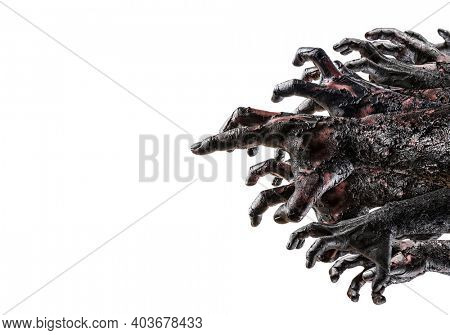 Group of creepy zombie hands isolated on white background