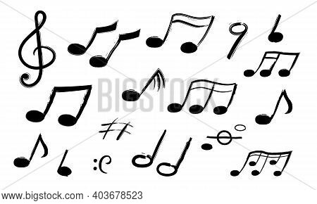 Music Notes. Hand Drawn Sound Symbols. Melody Recording. Collection Of Isolated Musical Signs. Decor