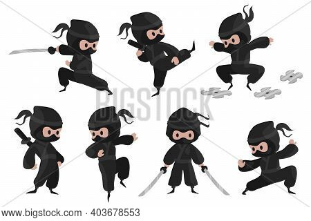 Ninja Character. Cute Cartoon Fighter With Sword For Children Illustration, Prints And Posters, Funn