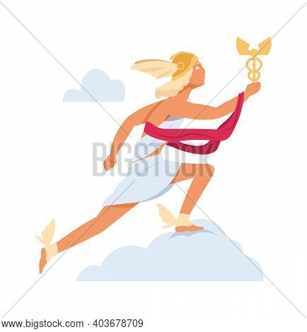Hermes Or Mercury. Antique Mythology Character. God Of Olympic Pantheon. Cartoon Young Man In Winged