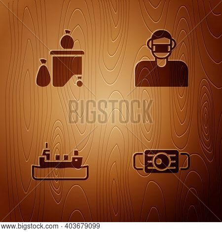 Set Medical Protective Mask, Full Dustbin, Oil Tanker Ship And Face On Wooden Background. Vector