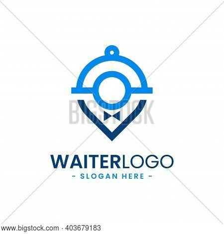 Waiter Logo Design Template. Butler Icon Vector. Professional  Hotel Restaurant Service Logo.