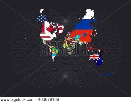Map Of The World With Flags. August's Epicycloidal Conformal Projection. Map Of The World With Merid